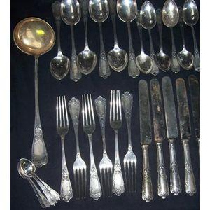 Russian silver part canteen in Louis XV style 84 Zolotnik