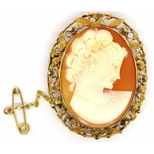 41c982a86 9ct gold and carved shell cameo brooch, depicting the profile of a lady.  With applied wire work and floral borders. marked 9ct approx 42mm high