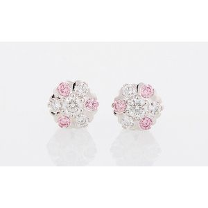 d01b417ab Pair of pink diamond cluster earrings, 18ct white gold, featuring six Argyle  pink diamonds weighing together 0.24ct 3PP (Argyle lot 361101) and six  round ...