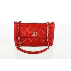 56a892e801df Chanel, Envelope flap bag, red quilted lambskin with gold tone hardware  turn lock closure and 'Chanel' plaque to flap top, single chain link and  leather ...