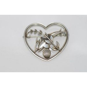 dc6dc325441e Georg Jensen silver brooch 312, designed by Arno Malinowski. Heart shaped  frame with double dolphin, stylised seaweed and shell, size: approx 4.5 cm  wide, ...
