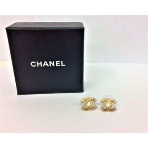 a87bf0b39 Chanel, CC' stud earrings, aged gold tone, stamped 'Chanel, Made in  France', with box. Show 3 more like this