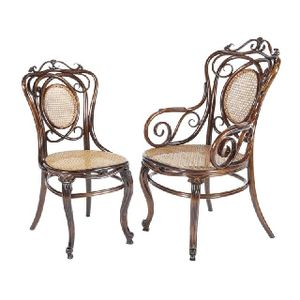 An Unusual Set Of Eight Thonet Beech Bentwood Chairs Including Two Elbow  Chairs, The Backs With Entwined Bentwood Scrolls Surrounding Oval Caned  Panels And ...