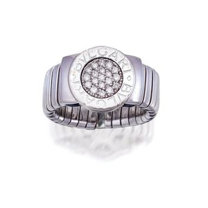 c5bb2179abed7 18ct white gold and diamond 'BVLGARI BVLGARI' ring, Bulgari, Centring a  circular plaque pave-set with brilliant-cut diamonds, framed by a polished  gold ...