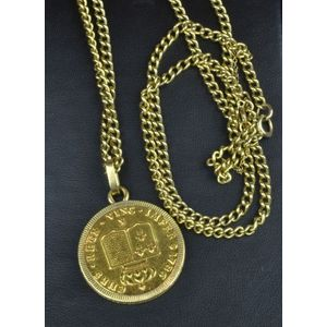 c9bd861abbd 9ct yellow gold chain with coin pendant i) 9ct yellow gold chain, weight:  22gms ii) 18ct yellow gold coin pendant / locket? diameter 3 cm, weight:  19gms
