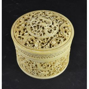 ad6b9db90935 An Intricately carved ivory Chinese box and cover c.1900 decorated with  mythical four claw dragon height 9 cm