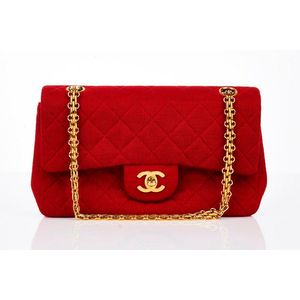 21c967fa5e42 Chanel, classic 2.55 double flap bag, red quilted jersey fabric with  adjustable gold bijoux chain, turn lock closure, Burgundy leather lining,  internal slip ...
