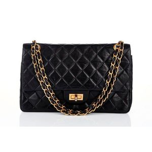 bb3136923527 Chanel, vintage classic 2.55 flap bag, black quilted lambskin, exterior  ticket pocket, gold tone hardware with Mademoiselle turn lock closure, ...