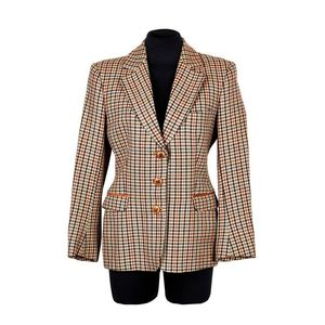 5fcfbcaf9 Hermes, houndstooth riding jacket, wool with tan leather trim to collar and  flap pockets, covered leather buttons with riding horn embellishment, brown  silk ...
