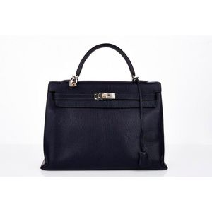 Hermes, indigo  Kelly  Sellier bag, chevre leather with palladium hardware,  stamped  Hermes, Paris, Made in France , with removable shoulder strap,  padlock, ... 0a2876e996