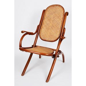 Pair Of Folding Bentwood And Cane Chairs, C. 1900, In The Manner Of  Gebruder Thonet, One Seat (A/F), Height 90 Cm Width 59 Cm Depth 77 Cm.