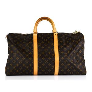 7bf8a5ab3e85 Louis Vuitton Keepall 50 monogram canvas with brown canvas lining