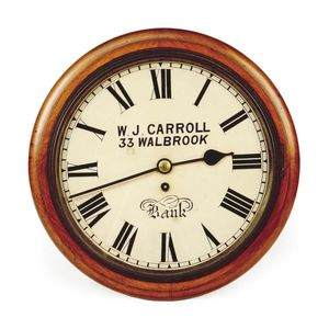 Mechanical Railway Station Wall Clock In Wooden Case
