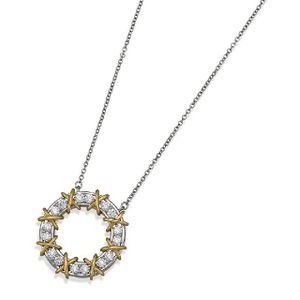 8e788d325 Diamond 'Schlumberger' pendant, Tiffany & Co., of circular design set with  round brilliant cut diamonds to a curb link chain, mounted in platinum and  18ct ...