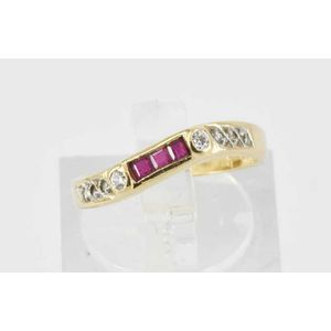 b53aab288 A ruby and diamond ring, wave design, on 9ct yellow gold. Size G. Weight  1.9g. Show 5 more like this