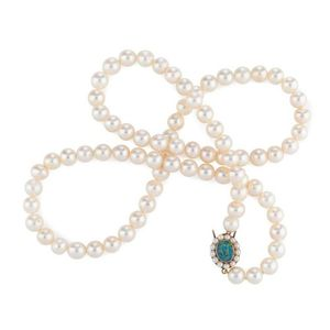 23c9acf7d A cultured pearl necklace single strand of off round pearls measuring 8-9mm  fastened with a 9ct gold and black opal clasp set with seed pearls, length  70 cm