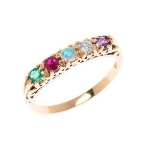 c992bb93288 A 9ct gold A.D.O.R.E ring, set with an amethyst, round brilliant cut  diamond, opal, ruby and an emerald, size O. Show 17 more like this