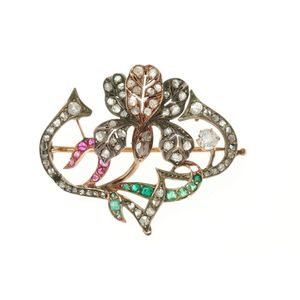 a461ab678 An Art Nouveau Russian diamond and gemset brooch, set in silver on 9ct gold  with emeralds, rubies, an old European cut and rose cut diamonds, ...