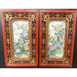 Maritime Pair Large Antique Victorian Clam Shell Mounted Plaques Bright In Colour Antiques
