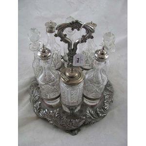 Vintage English silver plated 5 piece cruet set unused