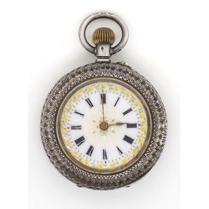 cbe941d59 Sterling silver ladies Swiss fob watch with a heavily engraved foliate  decorated body and enamel dial . Manual wind movement running when tested.