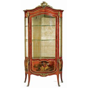 A French Marquetry And Vernis Martin Decorated Vitrine Cabinet,u2026