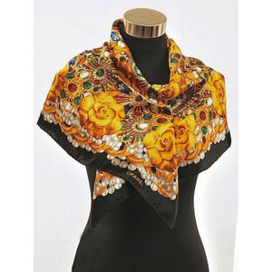 Ladies Royal Brown Vintage Brouch Pattern Silk Blend Square Scarf