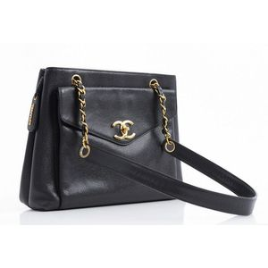 859df5e09c6e A vintage handbag by Chanel, styled in black caviar leather with gold metal  hardware, 31 x 36 x 12 cm. Show 30 more like this