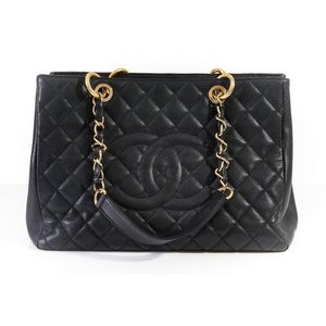 cc46c370831d A shopping tote bag by Chanel, styled in quilted caviar leather with gold  metal hardware and chain weave strap, 24 x 34 x 13 cm. Show 49 more like  this