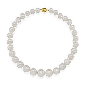 2e4e7c92a South sea pearl necklace Composed of thirty-one cultured pearls graduating  from approximately 10.65 to 15.70mm, completed by a gold clasp, ...