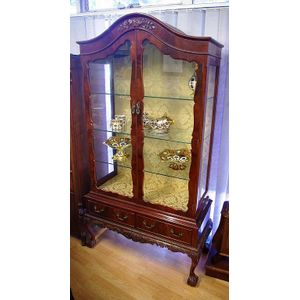 Vintage China Cabinet Carved With Two Drawers And Ball And Claw Feet, Three  Glass Shelves Inside. 188 Cm High. 105 Cm Wide