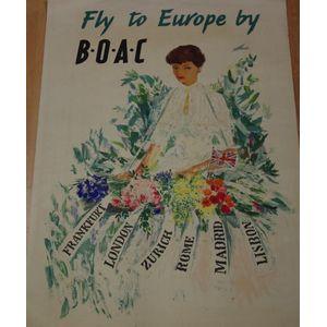 Vintage BOAC QEA Flights to Australia Airline Poster A3 Print