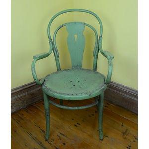 A Green Painted Bentwood Armchair, Austrian, Circa 1900. 96 Cm High, 60 Cm  Wide