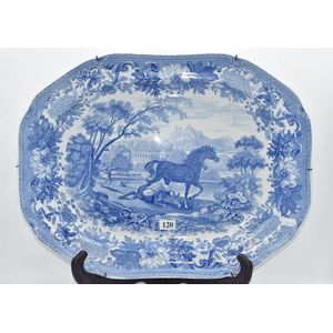 Pair Antique Spode Cabinet Plates with English Country Scene