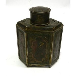 Antique Chinese Pewter Tea Caddy Box Container Hexagon 1 Of 3 Other Asian Antiques