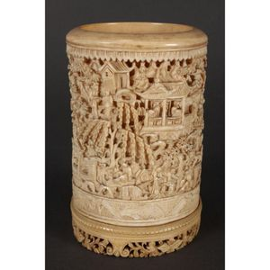 Collect Chinese Wood Hand-carved pattern painted Flower Pen container brush pot
