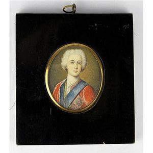 e271b634015 Miniature portrait of a late 18th century nobleman set in a timber frame.  Condition good