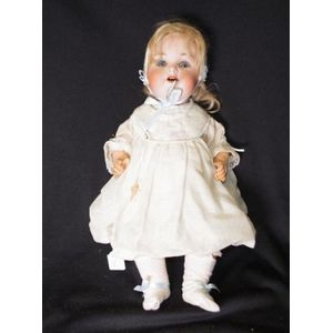 """Antique (pre-1930) Latest Collection Of 23"""" Antique German Bisque Doll By Armand Marseille Blonde Mohair Wig Pink Dress"""