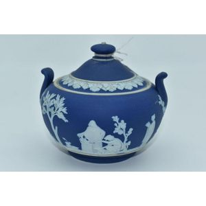 Vintage Wedgwood blue jasperware candlestick Made in England approx 10 cm diameter.