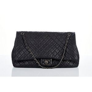 eb972dfa655 Chanel, XXL Airline classic flap bag, spring collection 2016, black quilted  aged calfskin, ruthenium hardware with turn lock closure, adjustable chain  link ...