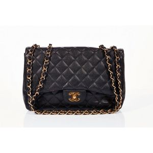 78e1647069d6 Chanel, Jumbo classic flap bag, black quilted caviar leather, exterior slip  pocket, gold tone hardware with turn lock closure, adjustable chain link  and ...