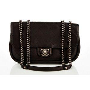 63a72b95819e Chanel, flap shoulder bag, black quilted calfskin, ruthenium push-lock  closure and adjustable chain link shoulder strap, zip pocket to back,  burgundy suede ...