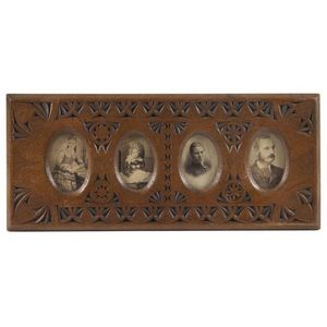 Isaac Albert Newton Four Panelled Picture Frame With Carte De Visite Portraits Of The Family 19th 20th Century 18 X 41 Cm Overall