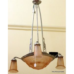 3f6de67241e5 An Art Deco plated bronze and pink glass chandelier, circa 1930s, signed P.  Meynadier, France, the triple stem light fitting with pierced and moulded  floral ...
