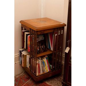 A Burr Walnut Four Sided Bookcase English Circa 1915 With Central Parquetry Snowflake Trophy 83 Cm High 45 Square