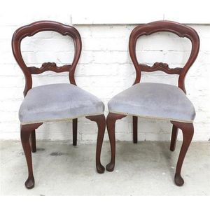 Good Condition Pair Of Victorian Bedroom Chairs Upholstered Low Seat