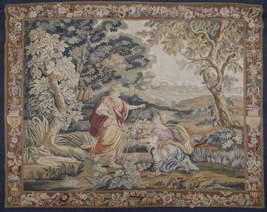A fine French wool tapestry, Aubusson, late 17th century