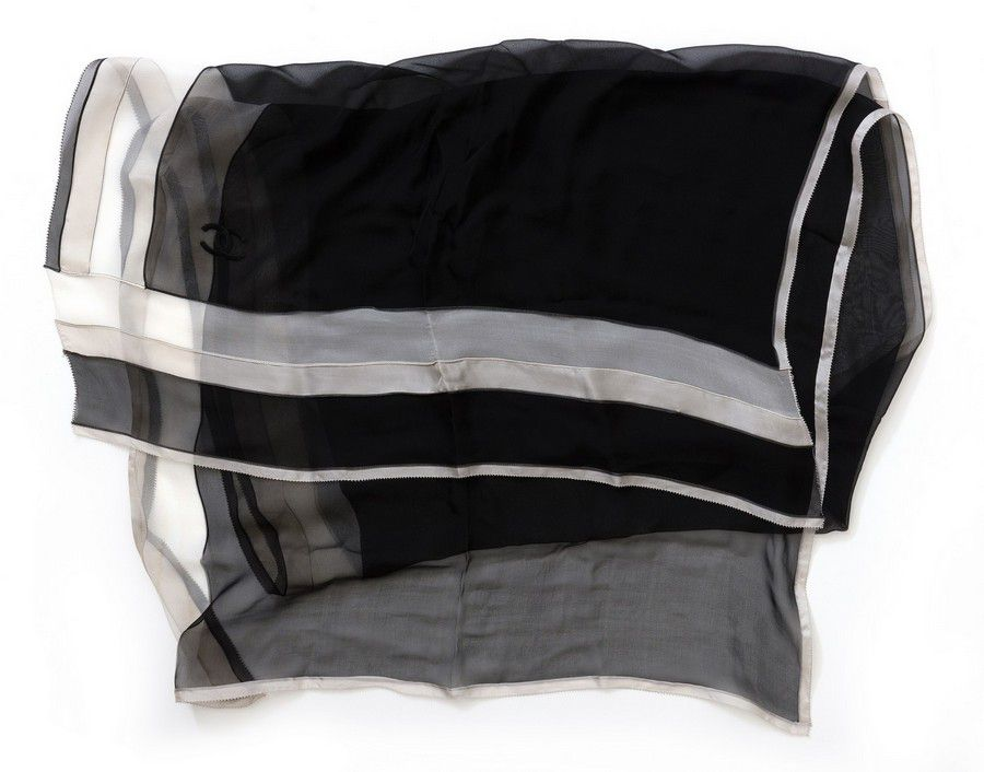 bc742e5d A sheer silk scarf by Chanel, styled in black and white, 202 x ...