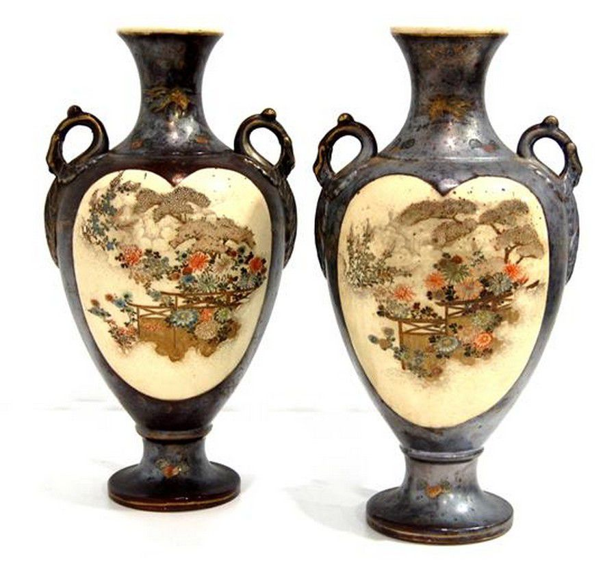 A Pair Of Japanese Satsuma Vase With Silver Glaze Over The