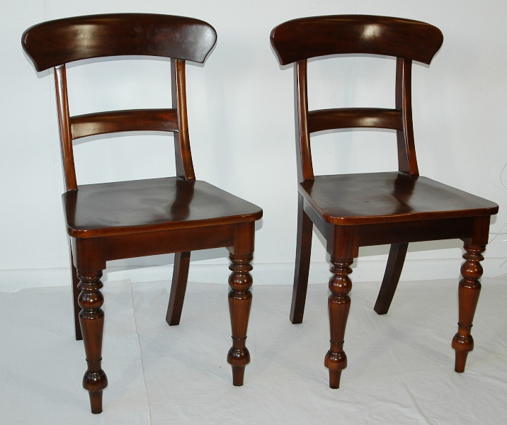 Pair Cedar Dining Chairs. Curved Rail Back & Carved Seat